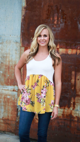 Mustard Floral Mix Tank - Velvet Crown Boutique