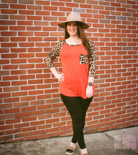 Fall Perfection Rust Leopard Pocket Top
