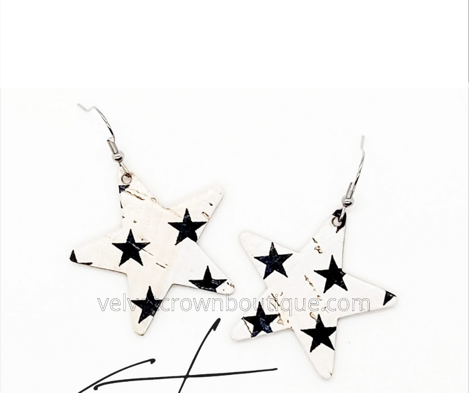 Black & White Star Cork Earrings