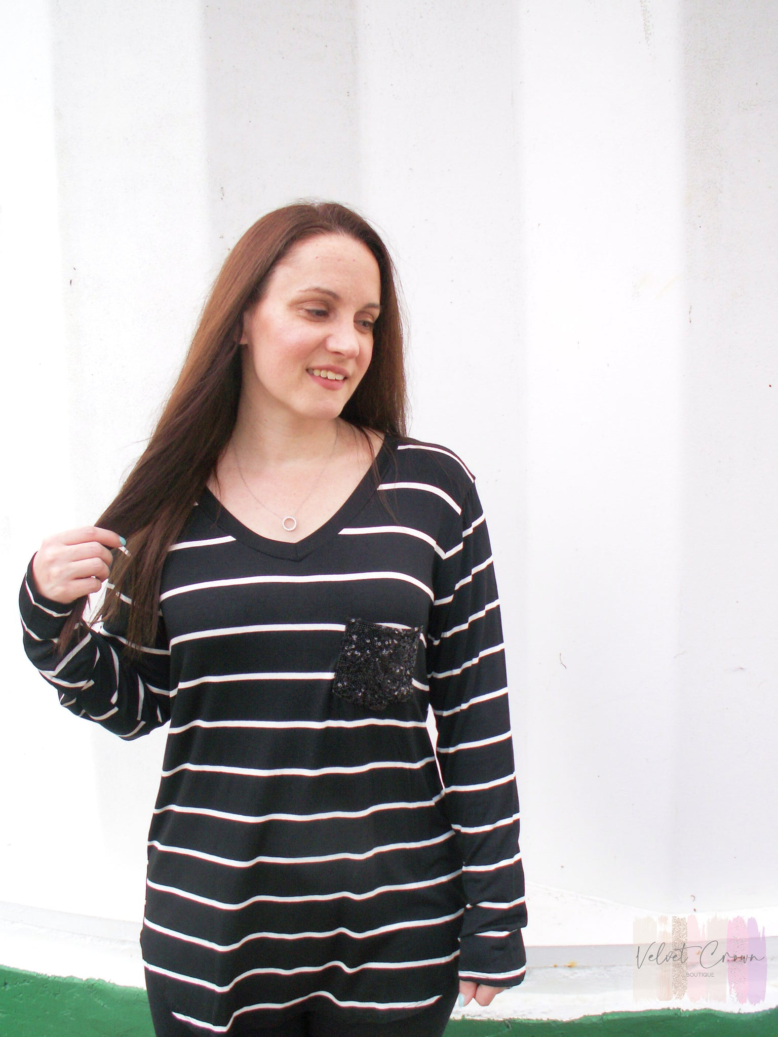 Classically Yours Striped V Neck Top
