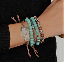 Turquoise Hamsa Leather Bracelet
