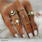 10pc/set Turkish Moon Knuckle Rings