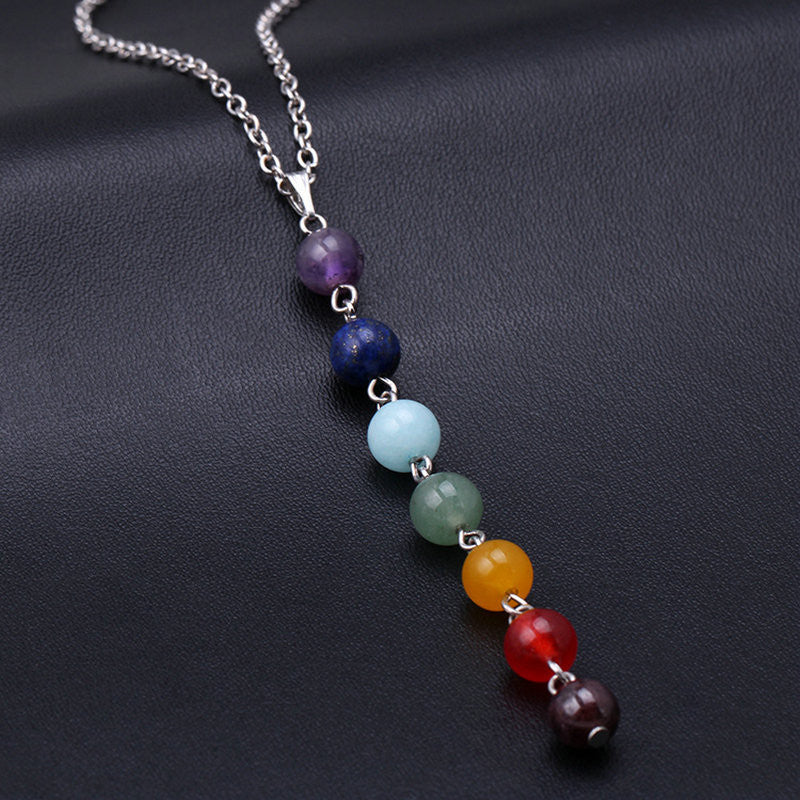 7 Chakra Glass Stone Necklace