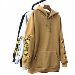 Embroidered Floral Hoodie