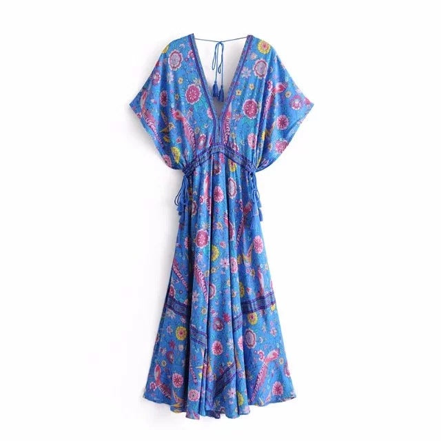 Peacock Retro Maxi Dress