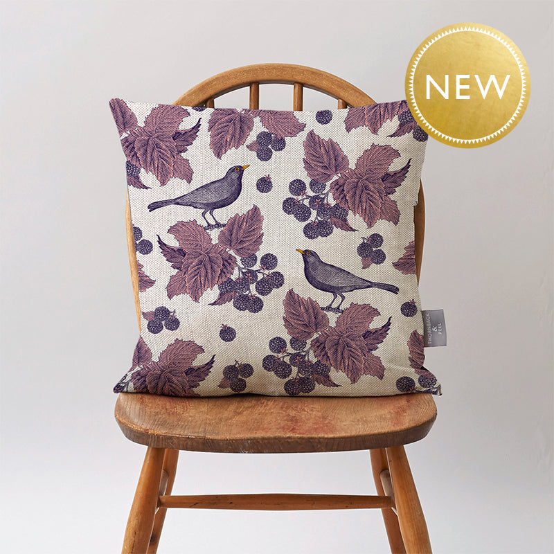 Blackbird & Bramble Cushion on Oatmeal
