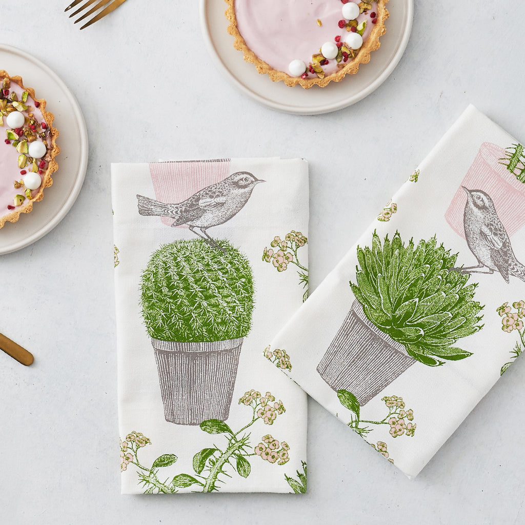 Cactus & Bird Napkin Set of Four