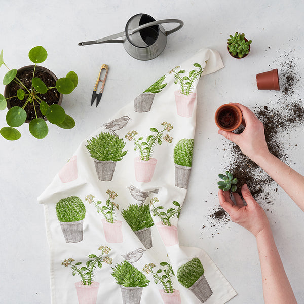 Cactus & Bird Tea Towel