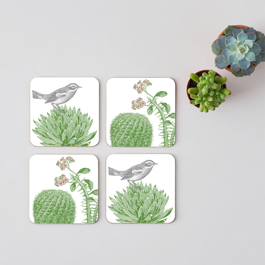 Cactus & Bird Coaster Set of Four