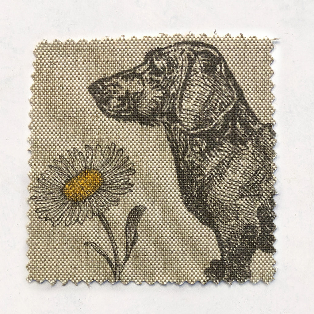 Dog & Daisy Fabric on Oatmeal Linen