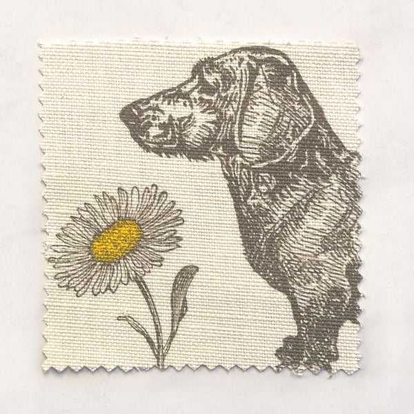 Dog & Daisy Fabric on Oyster Linen