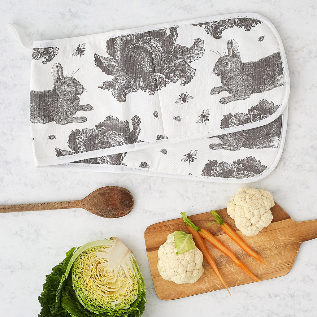 Grey Rabbit & Cabbage Oven Glove