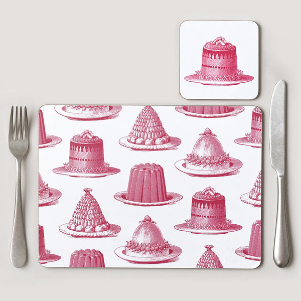Pink Jelly & Cake Placemat Set of Four