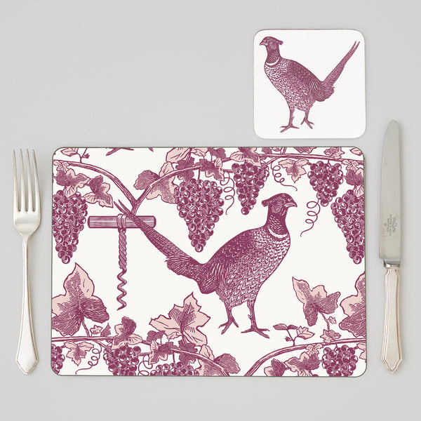 Pheasant & Vine Placemat set of Four