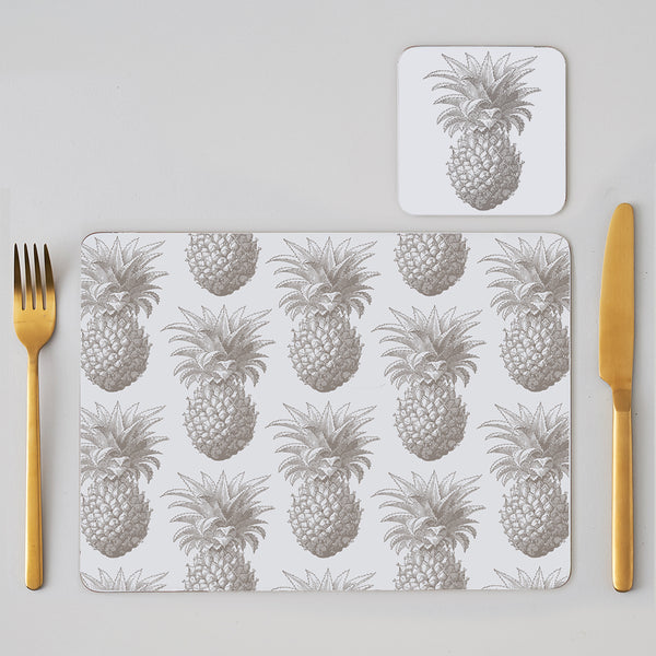 Grey Pineapple Placemat Set of Four