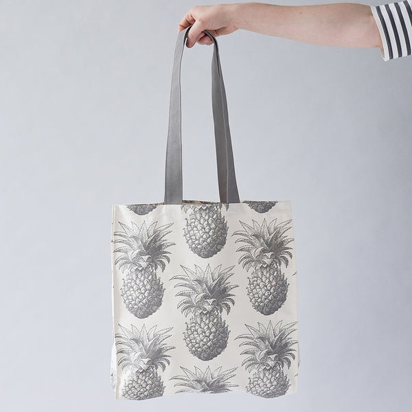 Grey Pineapple Tote Bag