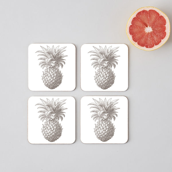 Grey Pineapple Coaster Set of Four
