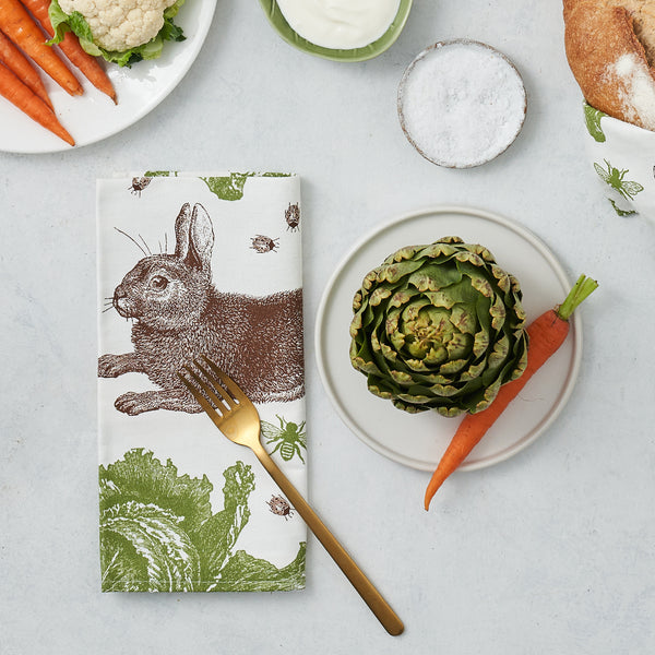 Classic Rabbit & Cabbage Napkin Set of Four