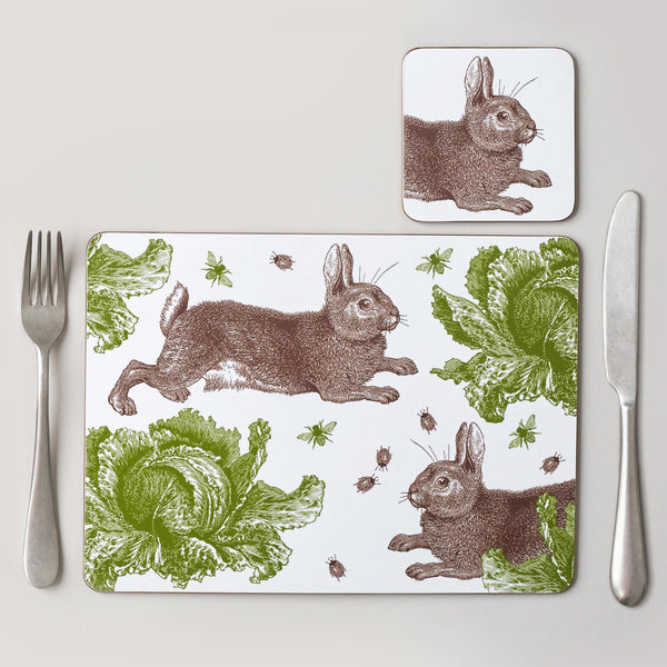 Classic Rabbit & Cabbage Placemat Set of Four