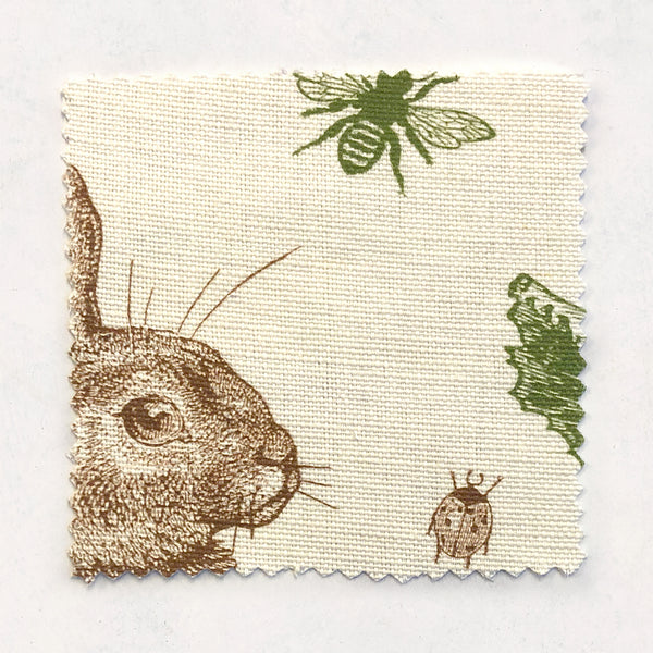 Rabbit & Cabbage Classic Fabric on Oyster Linen
