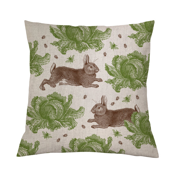 Classic Rabbit & Cabbage Cushion on Oatmeal