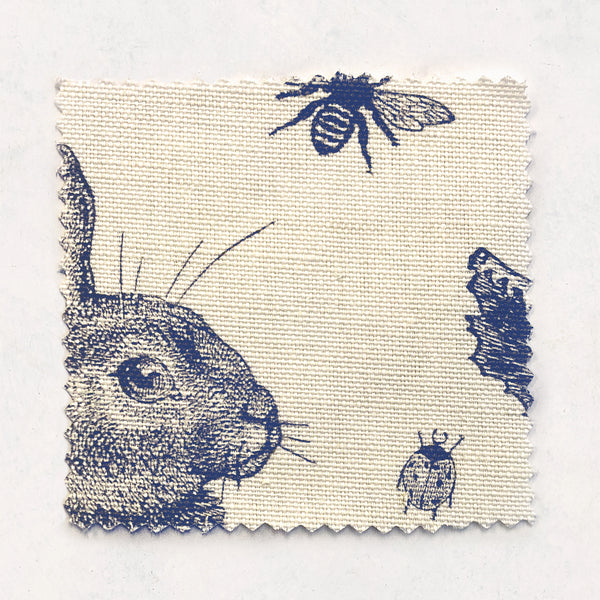 Rabbit & Cabbage Delft Fabric on Oyster Linen