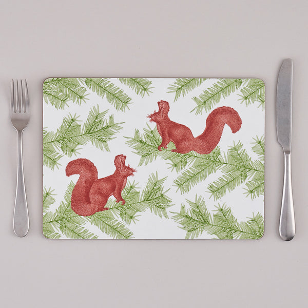 Squirrel & Spruce Placemat set of Four