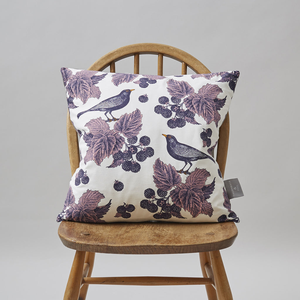 Blackbird & Bramble Cushion