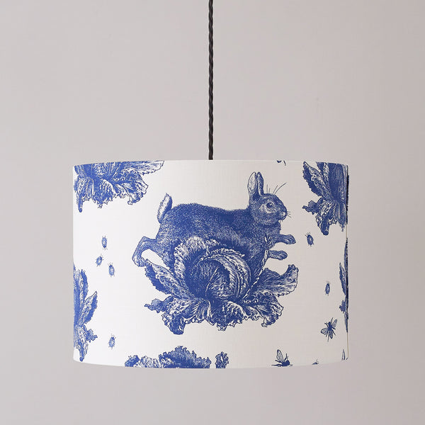 Delft Blue Rabbit & Cabbage Pendant Lampshade