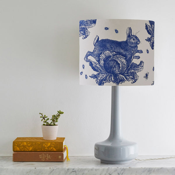 Delft Blue Rabbit & Cabbage Table Lampshade
