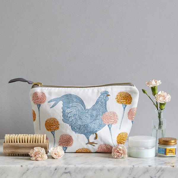 Chicken & Carnation Cosmetic Bag
