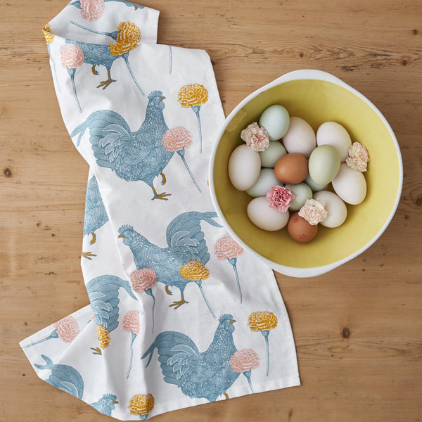 Chicken & Carnation Tea Towel