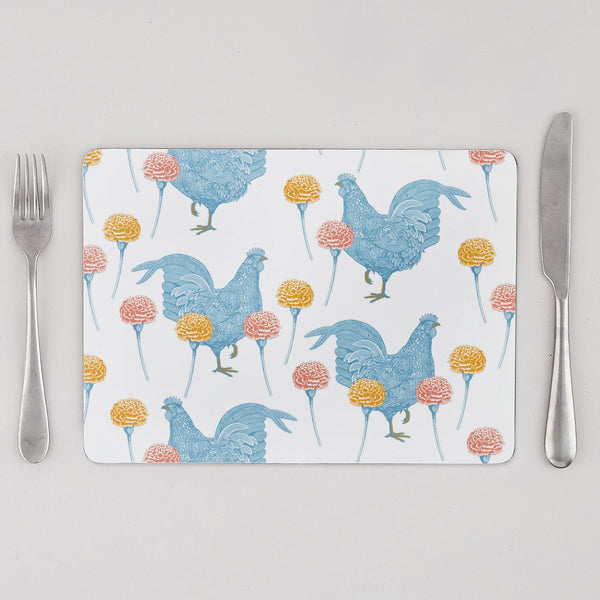 Chicken & Carnation Placemat Set of Four