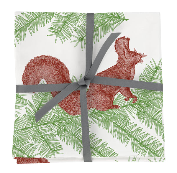 Squirrel & Spruce Napkin set of Four