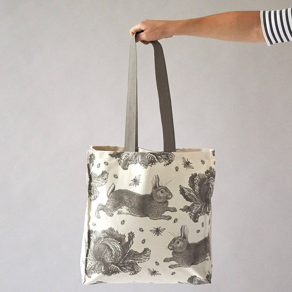 Grey Rabbit & Cabbage Tote Bag