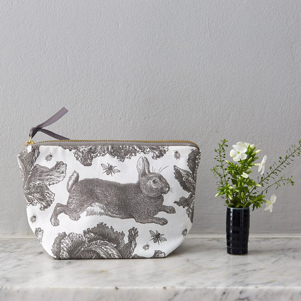 Grey Rabbit & Cabbage Cosmetic Bag