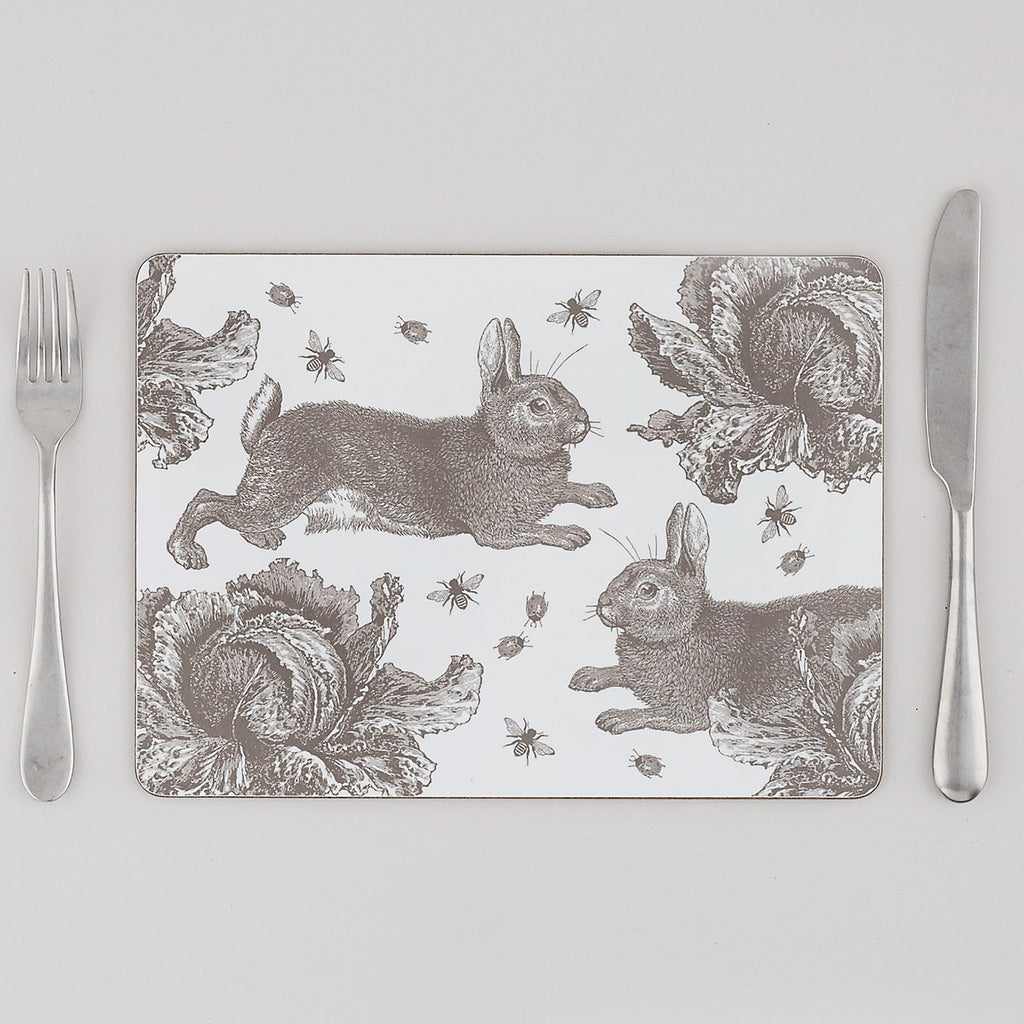 Grey Rabbit & Cabbage Placemat Set of Four