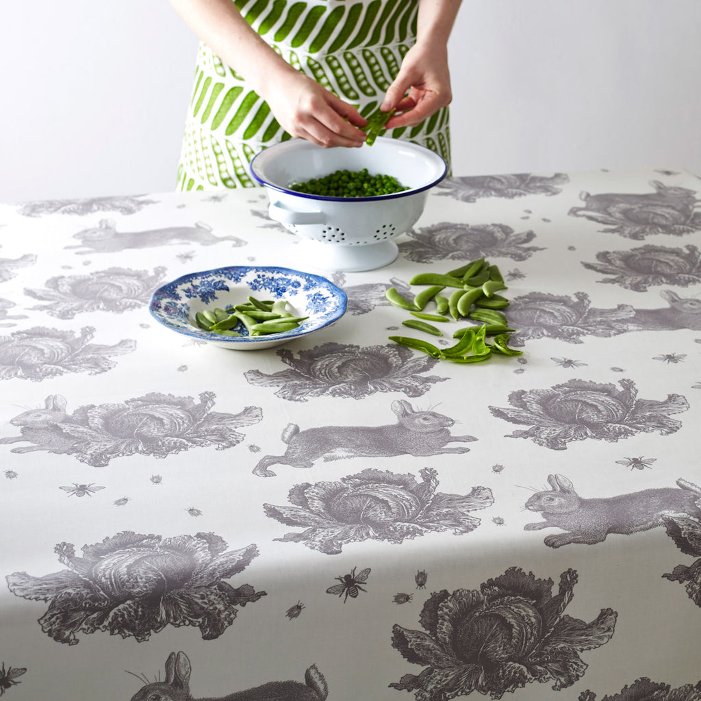 Grey Rabbit & Cabbage Oilcloth