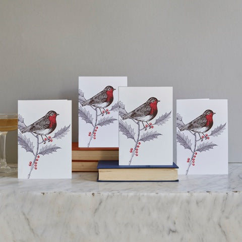 Robin & Holly Christmas Card Set of 12