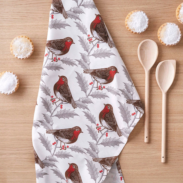 Robin & Holly Tea Towel