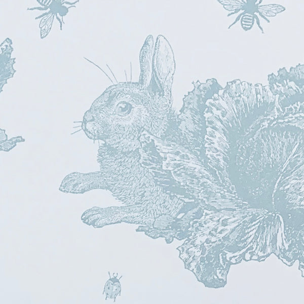 Blue Rabbit & Cabbage Wallpaper Sample