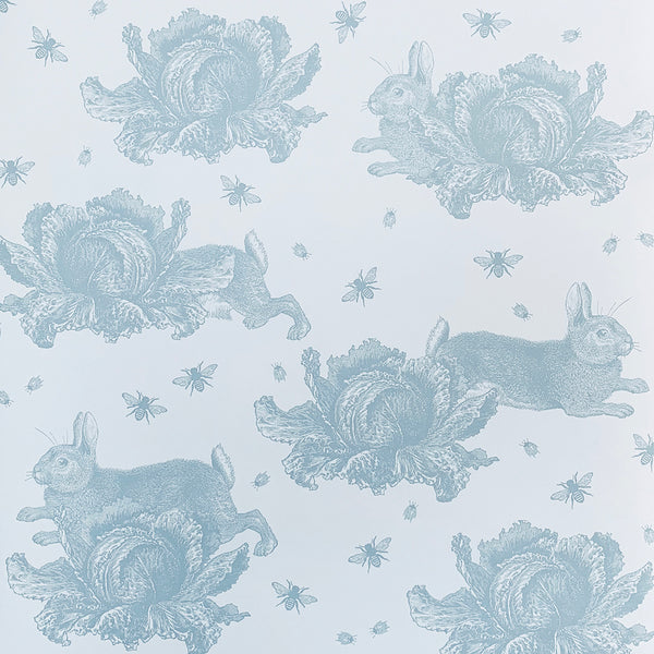 Blue Rabbit & Cabbage Wallpaper