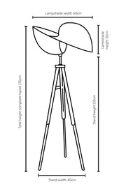 Dimensions illustration Kyoto bamboo tripod floor lamp 60cm