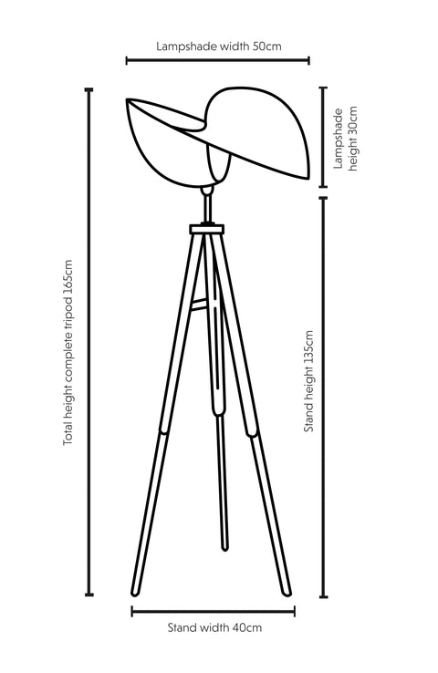 Dimensions illustration Kyoto bamboo tripod floor lamp 50cm