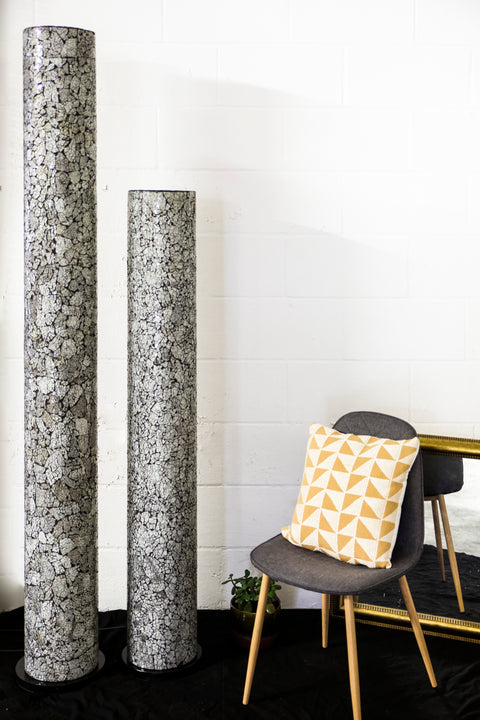 Amalthea tall and extra tall floor lamp by Collectiviste. Unusual black and white frosted glass floor lamps.