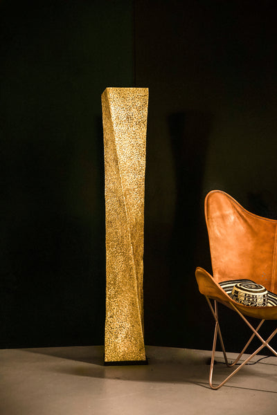 Unusual Callisto Tall Twist Floor Lamp by Collectiviste - Handcrafted from gold oyster shell
