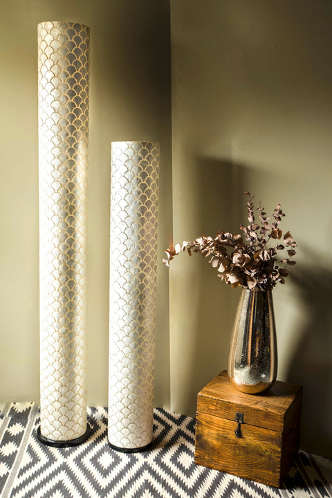 Seville tall cylinder floor lamps in 2 sizes - 200cm and 150cm. Handcrafted shell lighting by Collectiviste.