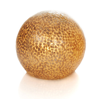 Unusual Callisto globe Lamp by Collectiviste, made of gold oyster shell