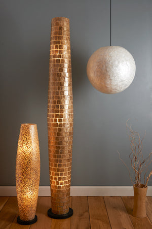 Unusual Callisto Floor Lamp by Collectiviste, made of gold oyster shell