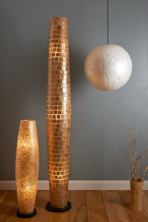 Handcrafted gold shell floor lamps and mother of pearl ceiling pendant. Shell lighting collection by Collectiviste.